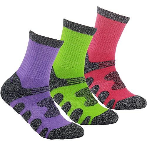 YUEDGE 3 Paar Damen Wandersocken Atmungsaktive Sport Socken Trekkingsocken für Outdoor-Aktivitäten (Grün/Rosa/Lila)