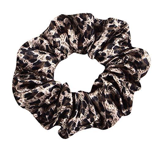 Damen Leopard Druck elastisch Haar Seil Ring Krawatte Pferdeschwanz Band Scrunchie Halter Stirnband GreatestPAK (One size, Kaffee)