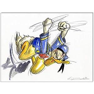Original Feder und Aquarell auf Aquarellkarton: Donald Duck Doanld in Rage VI / 24x32 cm