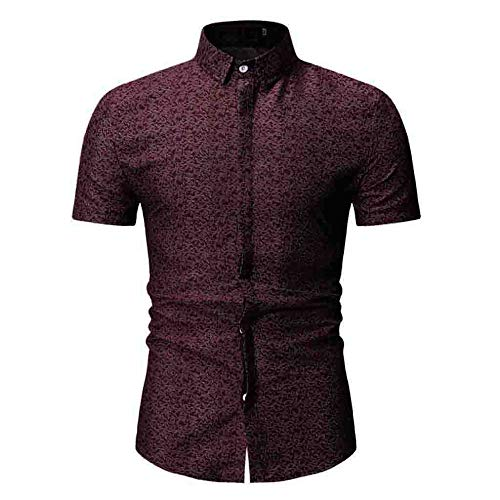 Beonzale Herren Sommer New Casual Kurzarm-T-Shirt Print Umlegekragen Slim Fit Kurzarm Top Shirt Bluse