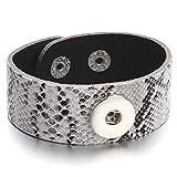 Daawqee Bracelets pour Femme, Adjustable Snap Bracelet Vintage Metal Leather Bracelet...