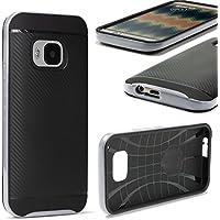 URCOVER Custodia Protettiva HTC One M9 | Back Cover Rigida Carbon Style + Bumper Antishock | Armor Case Ibrida in Argento