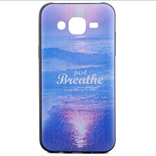 Galaxy J5(2015) Custodia Silicone,Galaxy SM-J500 Cover,Asnlove Custodia TPU Gel Silicone Flessible Stilosa Silicone TPU Case Back Shell Cover Posteriore di Morbido per Samsung Galaxy J500 Designo Mare Sol Blu