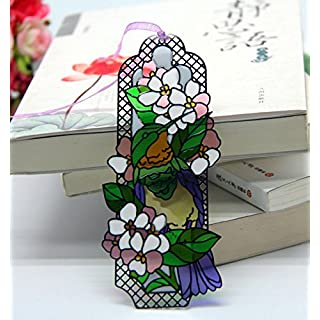 ACEVER Metal Bookmarks with Hand Paint on Art Glass Tiffany Bird