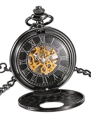 Schwarz Gesicht Römische Zahlen Mechanische Taschenuhr Geburtstags Hochzeit oder Jahrestags Männer Geschenk (Antik-uhren Für Männer)