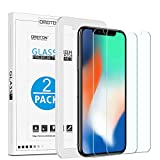 [Lot de 2 ]iPhone X Protection Ecran Verre Trempé avec Kit Installation Offert OMOTON Film Protecteur iPhone X/10 2017,[ 9H Dureté, Sans Bulles]
