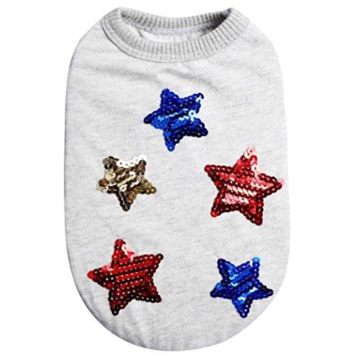 öße Hund Sommer Kleidung, niedliches Pailletten Star Pet Dog Cat T-Shirt ärmellos (Pailletten-katze-anzug)