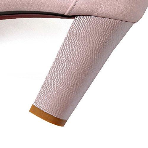 AgooLar Femme Matière Souple à Talon Haut Boucle Couleur Unie Chaussures Légeres Rose