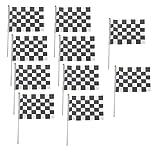 Leisial™ 10 Stücke Zielflagge Rennflagge Motorradsport Flaggen Schwarz Weiß Zielflagge 14*21CM