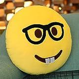 Emoji Kissen Geeky Brille und Zähne Kissen, Purple-Salt® - Emoticon Nette weiche gefüllte bequeme Plüsch Smiley Kissen Kissen, 28cm / 12 Zoll gelb Runde dicke, bunte Neuheit Geschenk