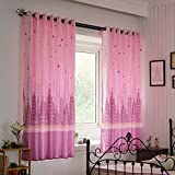 Nclon Kurze Vorhänge gardinen,Licht durch Blickdicht Thermisch isoliert Uv Schutz Schlafzimmer ösen Vorhänge gardinen-Rosa 1 Panel W200cm*D200cm