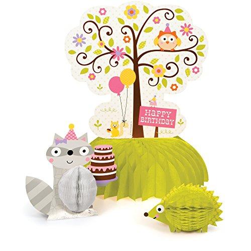 Creative Converting 265671Happy Woodland Mädchen Honeycomb Tisch Mittelpunkt, grün/grau/rosa Rosa Und Grau Party Supplies