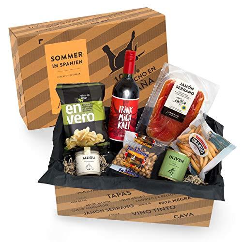 Präsentkorb SOMMER IN SPANIEN I Geschenkkorb gefüllt mit Sangria & spanischen Delikatessen I 7-teiliges Geschenkset…