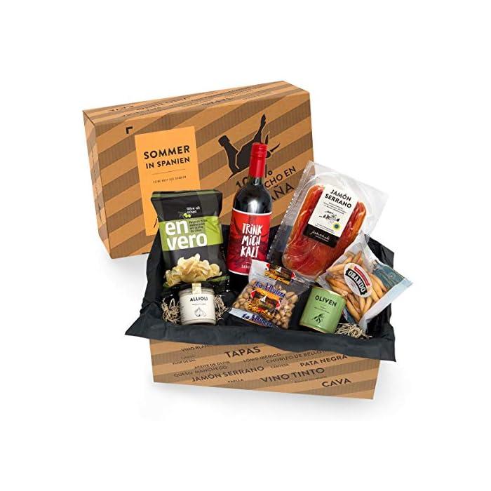 Präsentkorb SOMMER IN SPANIEN I Geschenkkorb gefüllt mit Sangria & spanischen Delikatessen I 7-teiliges Geschenkset ideal für Frauen & Männer 1