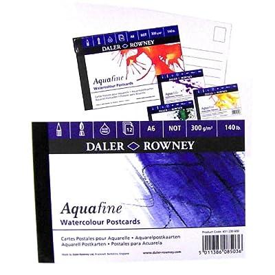 "12 Blatt DIN A6 Aquarell-Postkartenblock ""Aquafine"", Feinkornpapier für Aquarellmalerei von Daler Rowney - TapetenShop"
