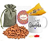 #1: Tied Ribbons Rakhi with Dry Fruits (Designer Rakhi with Rakshabandhan Special Printed Coffee Mug and Almonds, Roli Chawal)