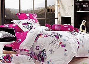 Full queen-Drap-housse - 100%  coton - 3d cube/Rubik's-Rose Doudou-set Fille Moderne draps/housses de couette ikea/housses de couette, elle est d'une couleur set Par pc