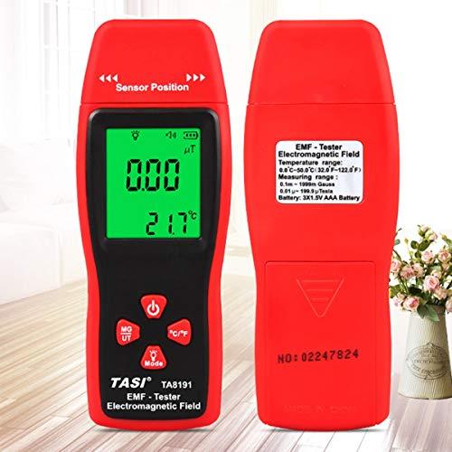 Gugutogo Tester dosimetro palmare emf con rilevatore di radiazioni elettromagnetico digitale rosso e grigio