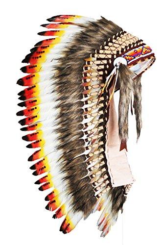 KARMABCN Y31 - Roter und schwarzer gelber Median Indischer Hut/Native American Style Penacho