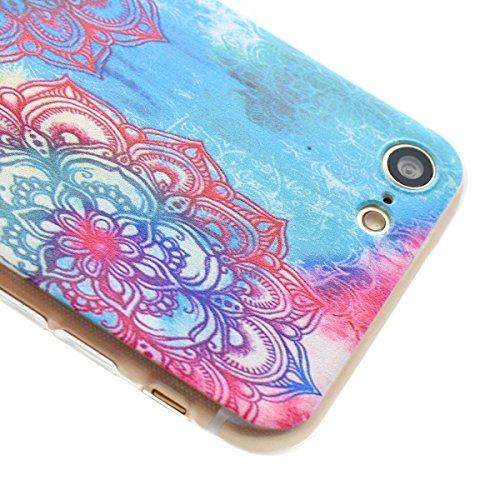 Etsue Case Pour iPhone 7 Plus,Ultra-minces TPU Silicone Coque Housse Pour iPhone 7 Plus,Diux Chir Housse Peinture Colorée Cover pour iPhone 7 Plus + 1 x Bleu stylet + 1 x Bling poussière plug (couleur Coloré une fleur