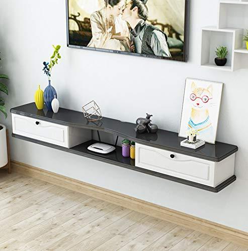 Top-komponente Regal (XINGPING-Shelf Kleine Wand-TV-Schrank Schlafzimmer Moderne minimalistische Trennwand Set-Top-Box Einfache Rack-Regal (Farbe : Schwarz+Weiss, größe : 120cm))