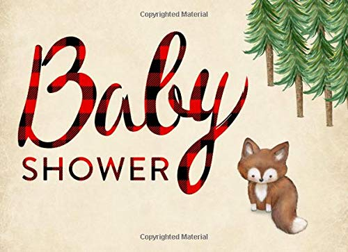 Baby Shower: Guest book, Cute Fox, Ideal for a Lumberjack theme baby shower! Space for a picture, Write predictions & advise, with gift log.