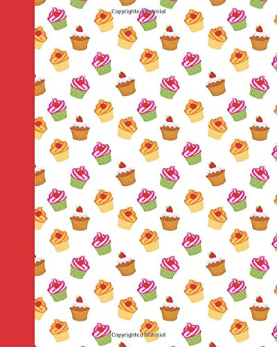 I Love Cupcakes!: Cupcake Journal (Red) 8x10 - GRAPH JOURNAL - Journal with graph paper pages, square grid pattern Plain Cake Box