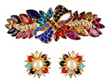 #6: GLORY Multi-Color Rhinestone Hair Clip and Earring for Girls - Combo of 2 (GLRE059)