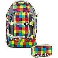 Satch by Ergobag 901 Beach Leach 2.0 Ensemble sac à dos scolaire et trousse, carreaux multicolores