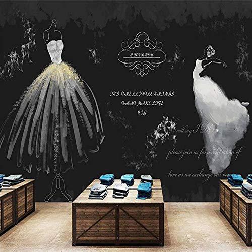 LWATML 3D Tapeten Benutzerdefinierte 3D Fototapete Retro Weiß Hochzeitskleid Vlies Wand Wohnzimmer...