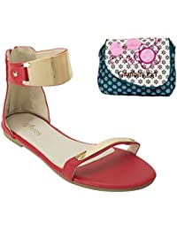 Estatos Faux Leather Open Toe Ankle Strap Metal Decorated Zip Closure Red Flat Sandals With Blue Printed Clutch...