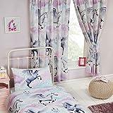 Stardust Unicorn Teal/Purple Double Duvet Set + Stardust Unicorn Teal/Purple Curtains Fully Lined 66x72 with Tie Backs