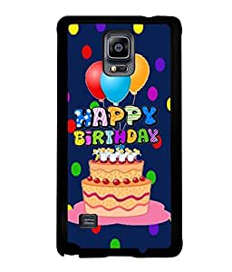 Fuson Premium Happy Birthday Metal Printed with Hard Plastic Back Case Cover for Samsung Galaxy Note 4 N9100
