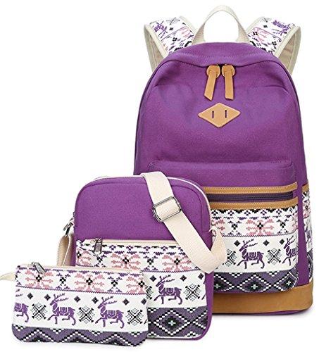 YEFER Teenage Girls School bags Set Canvas School Backpack+Shoulder bags+pencil Case 14 inch Laptop Bag Womens Casual Daypacks (Purple set)