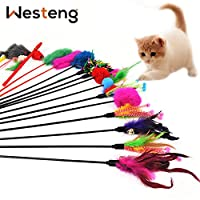 Westeng 4pcs Interactive Cat Toy Funny Pet Cat Kitten Play Sticks Wand Rod Classic Teaser with Bell (Random Color)