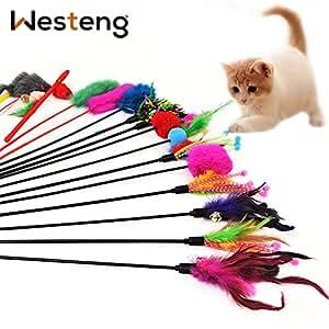 Westeng, 4 bacchette da gioco per gatti, gioco interattivo divertente, per gattini, bacchetta con punta con piume e campanella (colori casuali)