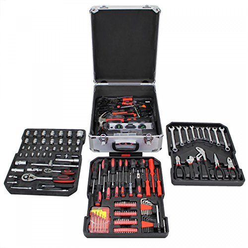 Leogreen - Malette à Outils, Kit Complet d'Outils, Avec mallette en aluminium et poignée télescopique, 251 outils
