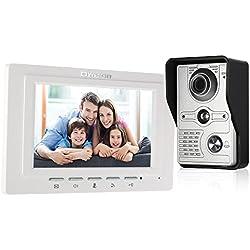"OWSOO Videoportero Timbre Intercomunicador (1000TVL Cámara de Vigilancia Exterior, 7"" TFT LCD Monitor Interior, IR-Cut, 2-Vías de Audio, Desbloqueo Remoto, Visión Nocturna)"