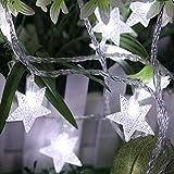 Wokee 40LED Warmweiß IP44 wasserfest Sternen Lichterkettenvorhang,Stern Fee Schnur beleuchtet,5M Dimmable Weihnachten Party, Garten, Hochzeit (Weiß)
