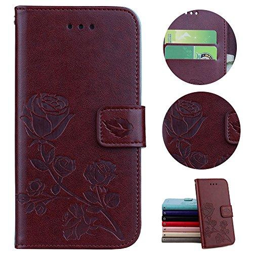 Sycode Hülle für iPhone 6S Plus,Case für iPhone 6 Plus,Schutzhülle für iPhone 6S Plus,Rose Blume Muster Lederhülle Hülle für iPhone 6S Plus/6 Plus (5.5 Zoll)-Braun