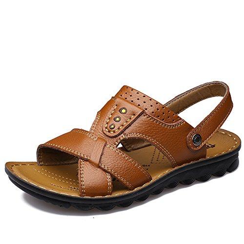 SU@DA 2016/nouveau/hommes/casual/cuir/plage d'été/sandales/chaussons/chaussures double usage Yellow