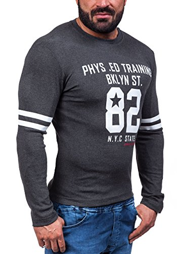 BOLF Pullover Langarmshirt Longsleeve Sweatjacke Motiv Herren Sweatshirt COMEOR 4245 Anthrazit