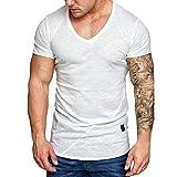 Xmiral T-Shirt Oberteile Herren Sommer V-Ausschnitt Lässige Polyester Dünne Kurzarmbluse Tops Sweatshirt Fitness Sport Hemd(L,Weiß)