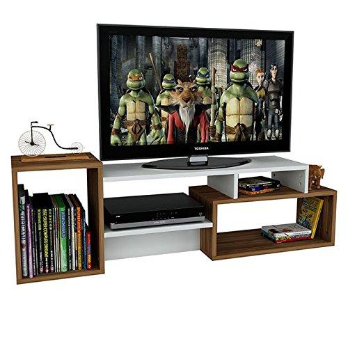 ALIDA TV Lowboard – Wohnwand – TV Stand – Möbel Fernsehtish in elegantem Design (Weiß / Nussbaum) - 3