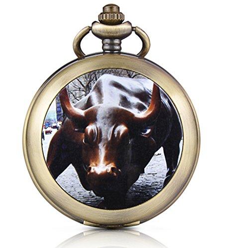 Unendlich U Wall Street Bull Prinzessin Handaufzug Mechanische Taschenuhr Weißes Zifferblatt Skelettuhr Pullover Halskette Foto Medaillon, beide Ketten