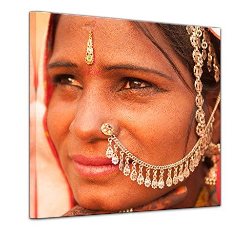 Kunstdruck - Indische Schönheit II - 60 x 60 cm - Leinwandbilder - Bilder als Leinwanddruck - Wandbild von Bilderdepot24 (Sari Schönheit)