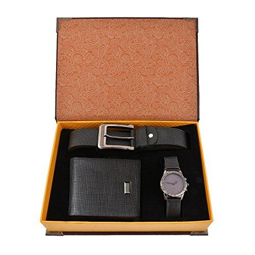 Souarts, set con cintura, orologio da polso analogico di quarzo e portafoglio in pelle artificiale da uomo, colore: blu scuro