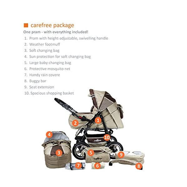 Bergsteiger Rio Combination Pram; soft changing bag; diaper bag; (10-piece mega set; 8 colours) Bergsteiger Comprehensive pram set made by Bergsteiger. This package leaves no wish unfulfilled and will be a trusty companion to you and your child from the moment your child is born. The clever design is easy to use. Thanks to its light weight and compact size, this pram will easily fit into your car. Safety comes first! With this combination pram, you are always on the safe side. The Bergsteiger pram complies with European safety standard EN1888, which specifies safety requirements regarding materials, construction and stability. Stunning colours - modern design. This Bergsteiger pram is not only extremely versatile, it is also an absolute eye catcher. The modern colour scheme and the large air tyres on chrome rims guarantee a beautiful look. 2