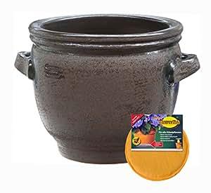 Spar Set: Keramik Pflanz-Topf mit Flower-Pad Drainage Henkel-Kübel frost-sicher rund Ø 60 x 55 cm Farbe braun rustikal Form 050.060.05 für Außen und Innen-Bereich