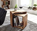 #2: MP Enterprises Rosewood/Sheesham Wood Nested Cube Bed Side End Table for Living Room | Honey Finish